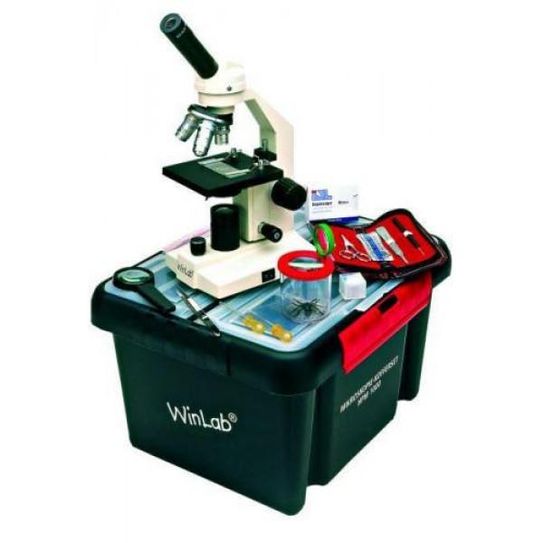Windaus HPM 1000 mikroskooppi jossa matkalaukku