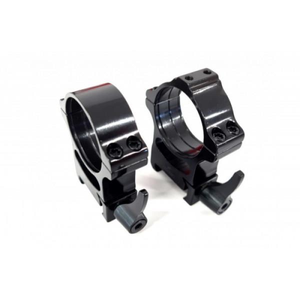Rusan Weaver -renkaat (yhdessä renkaassa on liitäntä sovittimille) - 30 mm, pikalukitus, H20